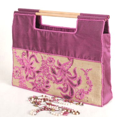 Handbag Plum and Jute